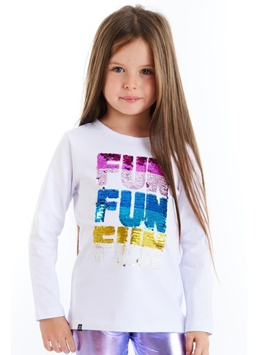 Colorinas Fun Payetli Sweatshirt Beyaz Beyaz